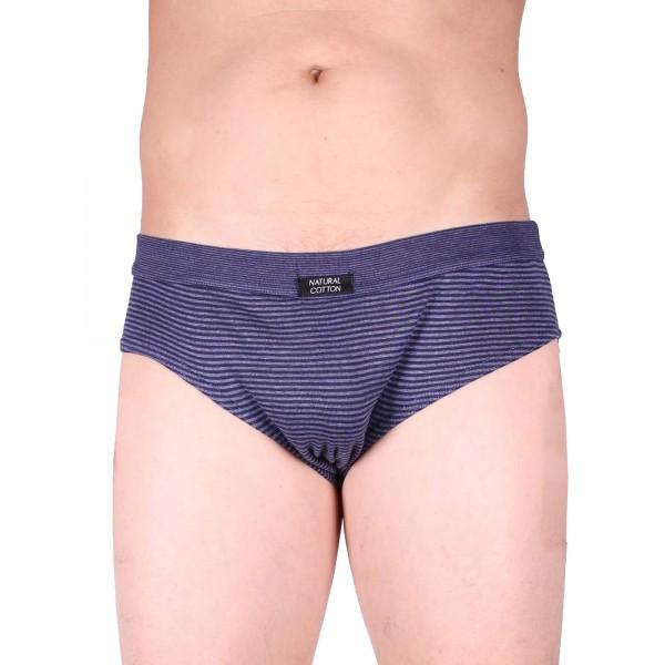 Herren-Sport-Slip im Baumwollmix blau geringelt