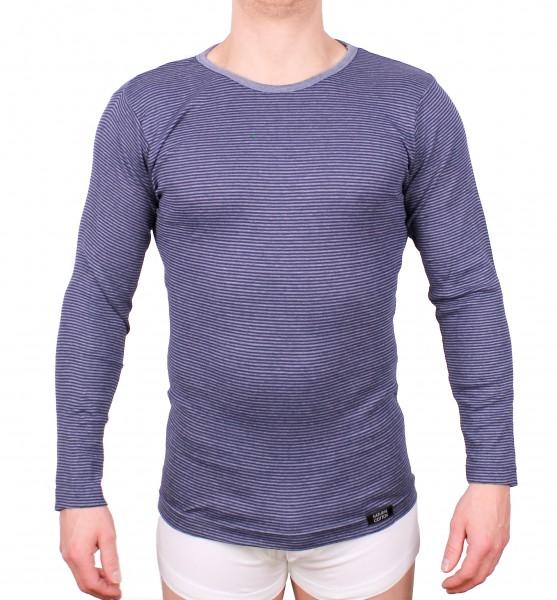 Herren Thermounterhemd blau geringelt