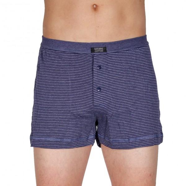 Herren-Boxershort mit Eingriff im Baumwollmix blau geringelt