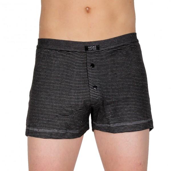 Herren-Boxershort mit Eingriff im Baumwollmix anthrazit geringelt