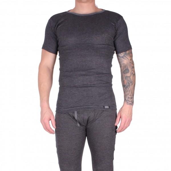 Herren Kurzarm Shirt im Baumwollmix anthrazit geringelt