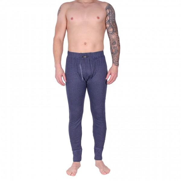 Herren-Thermounterhose lang mit Eingriff blau geringelt
