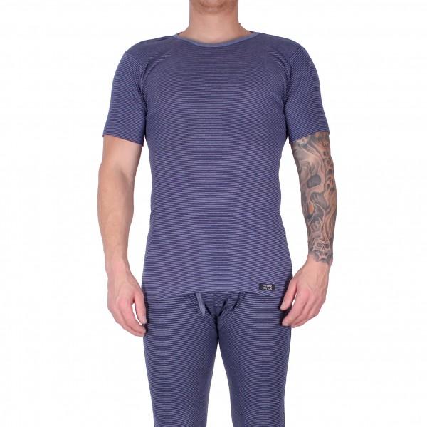 Herren Kurzarm Shirt im Baumwollmix blau geringelt